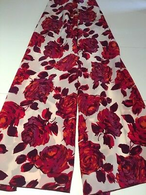 100% Mulberry Silk Red Roses Birds & Flowers 🇦🇺 Crafted.51x194cm Extra Long