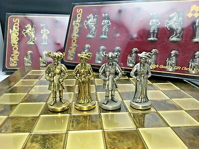 Manopoulos Knights Chess Set - Gold Silver - Brown Board Medieval Europe