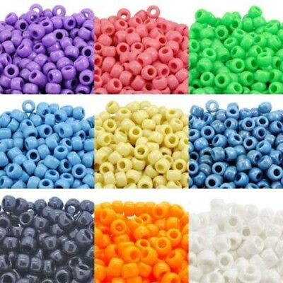 100pcs Colorful Pony Beads Cylinder Round Acrylic Spacer Loose Beads DIY Jewelry