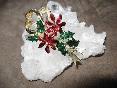 Vintage signed GERRYS Christmas poinsettia and holly ribbon brooch pin