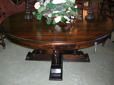 "Antique Style Country French Barley Twist 72"" Round Hardwood 8 Seat Dining Table"