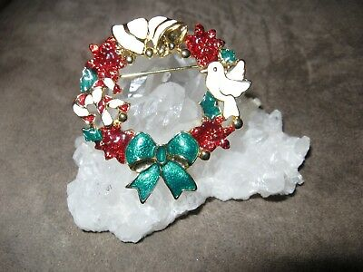 Vintage Christmas poinsettia dove candy cane enamel brooch pin with bow