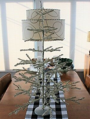 36-INCH SILVER ALUMINUM VINTAGE FEATHER STYLE CHRISTMAS Tree