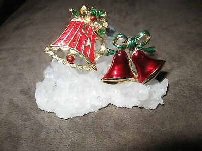 Lot of 2 Christmas bell brooches pins one red enamel signed SFJ