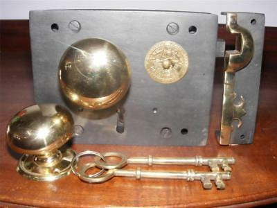 "Carpenter 6"" ,iron & brass box,rim lock & keeper.with 54mm victorian brass knob"