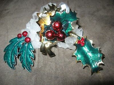 Lot of 3 Christmas holly brooches pins jewelry
