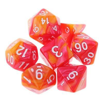7×Polyhedral Dice For Dungeons And Dragons Dice DND RPG MTG Red Orange New 2018