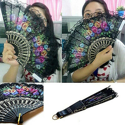 Chic Spanish Style Flora Oriental Dance Party Wedding Silk Folding Hand Fan Lace