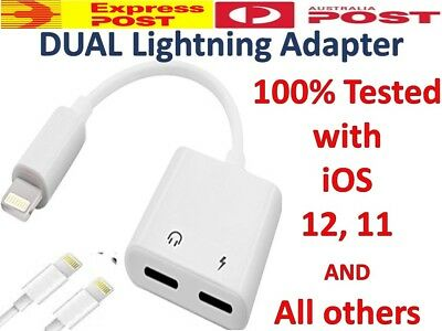 Dual Lightning Splitter Adapter Double Headphone Charge 4 iPhone X XS Max X 7 8