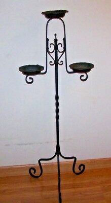Gothic Wrought Iron Candle / Plant Stand 3 Holder / Twisted Pole / Curved Legs