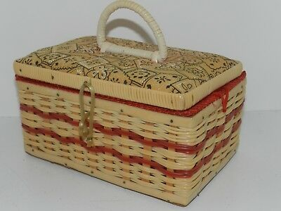 Vintage Plastic Wicker Sewing Basket With Handles Small Size Pincushion Lid