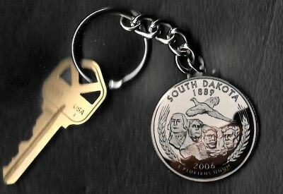 State of SOUTH DAKOTA Quarter Keychain Key Chain Image is 60% larger than quarte