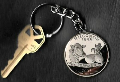 State of WISCONSIN Quarter Keychain Key Chain Image is 60% larger than quarter