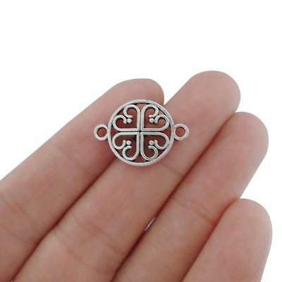 10 x Tibetan Silver Tone Heart Connector Charms for Jewellery Making Findings
