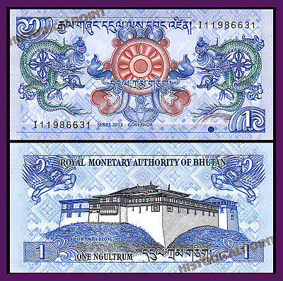 Bank  Note-Unc Currency- Bhutan 1 Ngultrum 2013  P 27-Free Shipping-