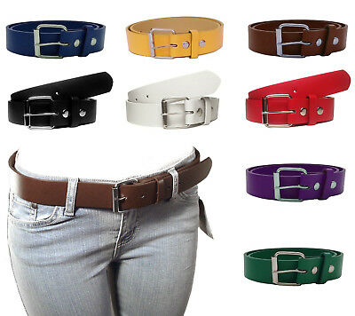 NEW Kids Junior Size Thick Leather Belts w/ Removable Silver Buckle Many Colors