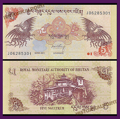 Bank  Note-Unc Currency- Bhutan 5 Ngultrum 2006-2015  P-28-Free Shipping-