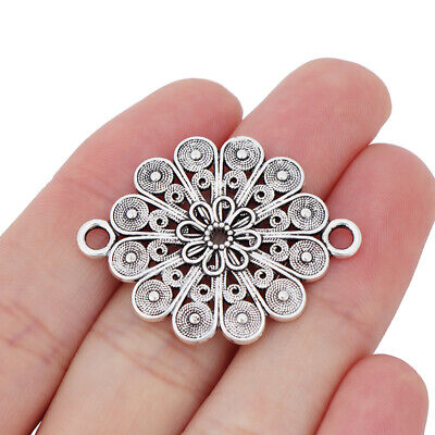 5 x Tibetan Silver Tone Flower Connector Charms for Bracelet Jewellery Making
