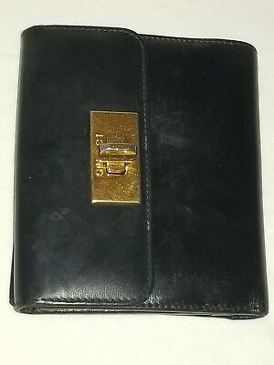 7fb96af65f3 Gucci Turn Lock Black Leather Bifold Coin Purse Wallet Made In Italy  73247.4463.