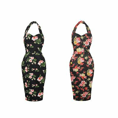 New Ladies Retro Vintage 1940's Halter Neck Body Con Wiggle Dress Floral Rose