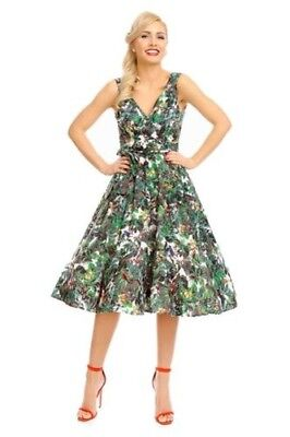 Looking Glam Retro Vintage Pin Up Anni 50 Swing Abito a Fiori