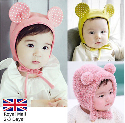 Baby Girls Boys Warm Cotton/Plush Hat Kids Rat/Bear Bonnet Cap Winter Earmuffs