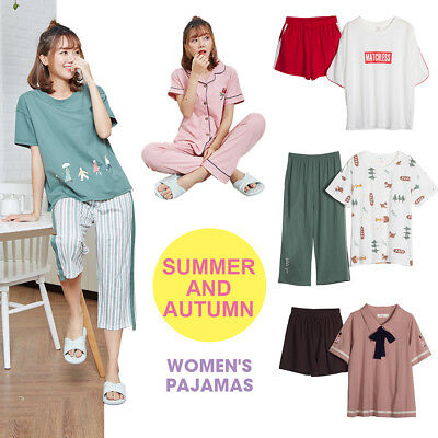 Summer Women Girl Cotton Pajamas Set  Pyjamas Set Sleepwear Loungewear Nightwear