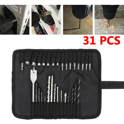 31 Pcs High Speed Hss Drill Bit Set With Bag Professional Multipurpose Mix
