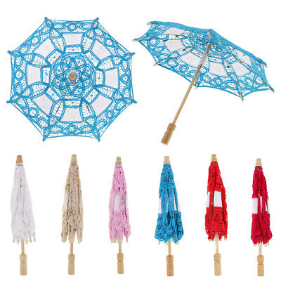 Mini Lace Embroidered Parasol Umbrella Wedding Bridal Flower Girl Photo Prop 15""