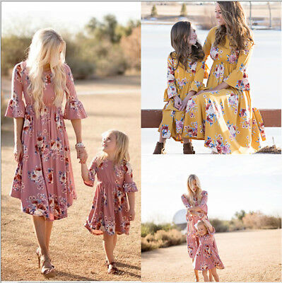 AU Family Clothes Lady's Mother Daughter Matching Summer Baby Girl Dress Size