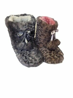 Kids Girls Infants Fluffy Soft Leopard Print Pull-On Slipper Booties Boots Shoes
