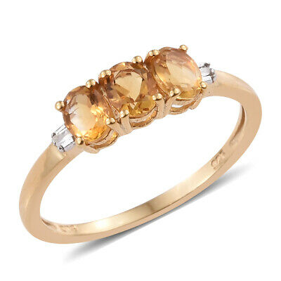 Citrine Diamond Accent 14K Yellow Gold Over Silver Cluster Wedding Ring