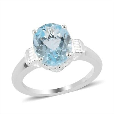 925 Sterling Silver Oval Sky Blue Topaz Solitaire Ring Cttw 3.1