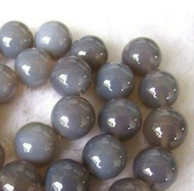 Wholesale !6mm-8mm-10mm Natural Grey Agate Round Beads 15'' AAA+++
