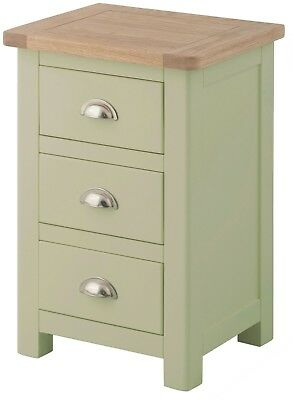 Hampton Sage Bedside Table with Oak Top/Solid Wood Painted Bedside Cabinet /New