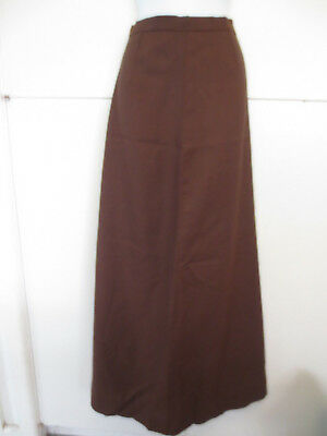 RETRO VINTAGE 1970s SKIRT MAXI LENGTH A LINE BROWN POLY FABRIC SZ 8-10