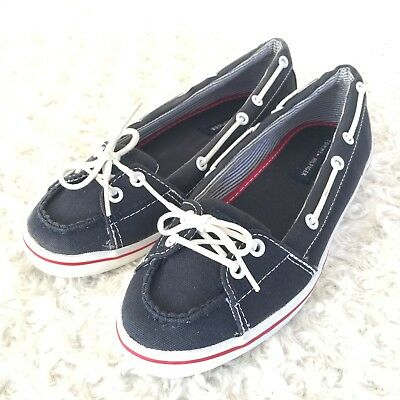 d6af6a35aec2 Tommy Hilfiger Size 6 M US Canvas Casual Boat Shoes Navy Blue White TW27261