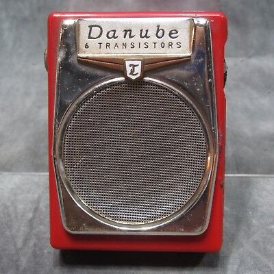 Vintage Small Red 1960's Danube 6 Transistor Radio