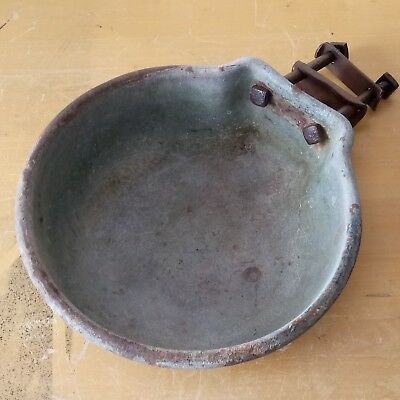 Vintage Cast Iron Water Bowl w/ Original Hardware - Repurpose as a Bird Bath!