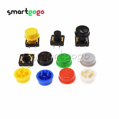 SMD/DIP Tactile Push Button Switch Momentary Tact&Cap 12x12x7.3mm-12mm Kit BSG