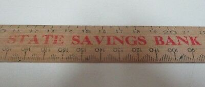 The State Savings Bank of Victoria - Vintage Wooden Ruler with Calendar - 1973