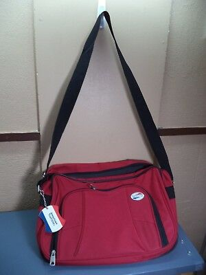 American Tourister Messenger Secretary Bag Very Good Condition Red Vinyl VGC