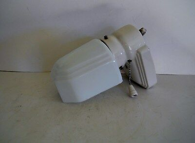 Vintage Electric  White Porcelain Wall Light Fixture  W/ White Milk Glass Shade.