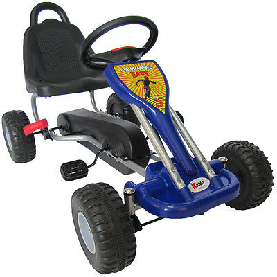 Kiddo Classic Design Blue Kids Childrens Pedal Go-Kart Ride-On Car - New