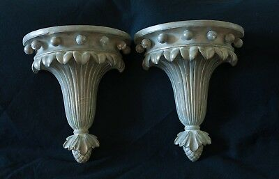 Pair Antique Wall Bracket Shelf Sconce Plaster Ball and Scroll Pattern