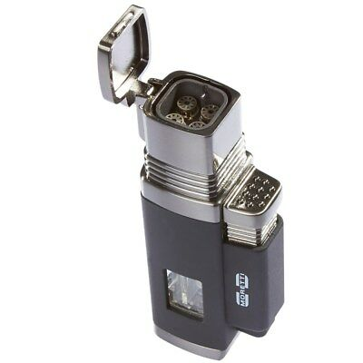 Moretti Churchill Quad Flame Torch Cigar Lighter With Punch Cutter - Black