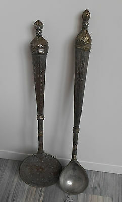 Norwegian 19th Century Folk Art Instruments Long Ladle w Strainer Spoon RATTLES