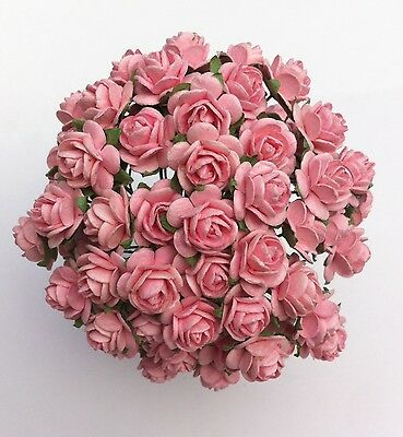 50 BABY  PINK MULBERRY PAPER OPEN ROSES/FLOWERS 1cm (10mm) and 1.5cm (15mm)