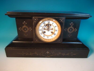 Antique French, black marble clock outside escapement, works Marti et Cie -MINT!