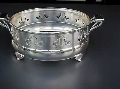 """S.P. Copper Silver Plated Footed Round Serving Dish Insert Stand 7"""" ½"""